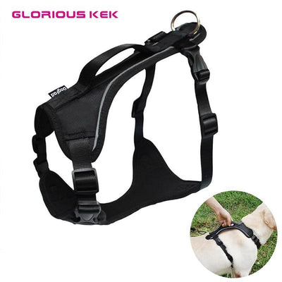 Collars and Leashes Dog Harness for Large Dogs Reflective Pet Harness Vest Soft Padded Outdoor Sport Dog Harness black / XS chest 44-54cm