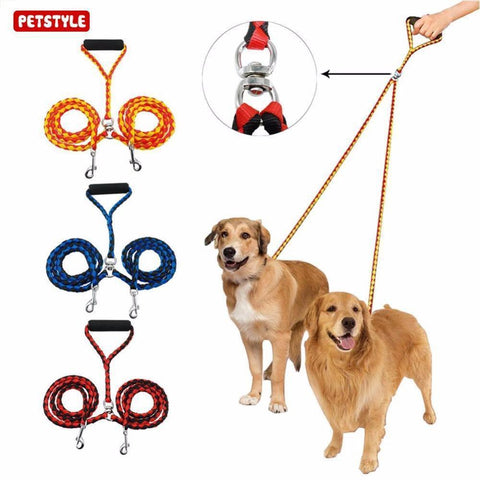 Collars and Leashes Double Headed Traction Rope Leash For Walking Training Two Dogs Orange