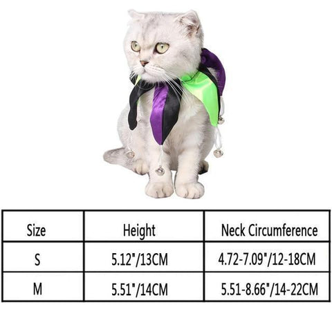 Image of Collars and Leashes Halloween Adjustable Dog Cat Collar Multicolored Polyester Printed Necktie Necklace Costume cravat Tie Purple / S