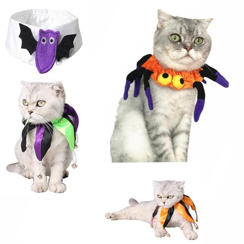 Collars and Leashes Halloween Adjustable Dog Cat Collar Multicolored Polyester Printed Necktie Necklace Costume cravat Tie Spider / S