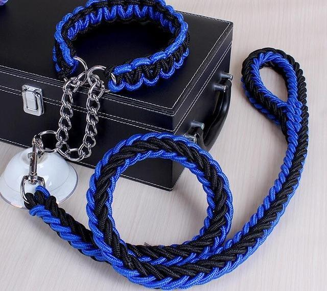 Collars and Leashes High Quality Upgraded Leash for Large Dogs Black Blue / S   25 to 30 cm
