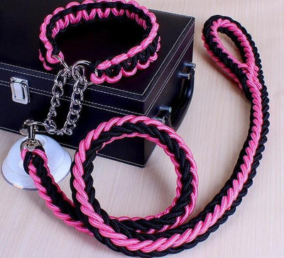 Collars and Leashes High Quality Upgraded Leash for Large Dogs Black Pink / S   25 to 30 cm