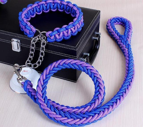 Image of Collars and Leashes High Quality Upgraded Leash for Large Dogs Blue Purple / S   25 to 30 cm