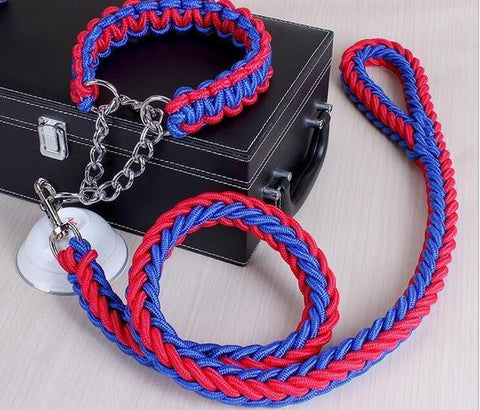 Image of Collars and Leashes High Quality Upgraded Leash for Large Dogs Blue Red / S   25 to 30 cm