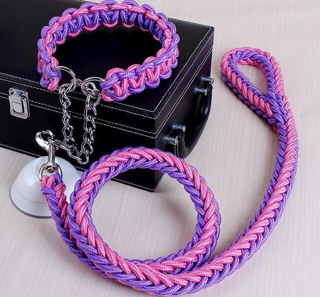 Collars and Leashes High Quality Upgraded Leash for Large Dogs Purple Pink / S   25 to 30 cm