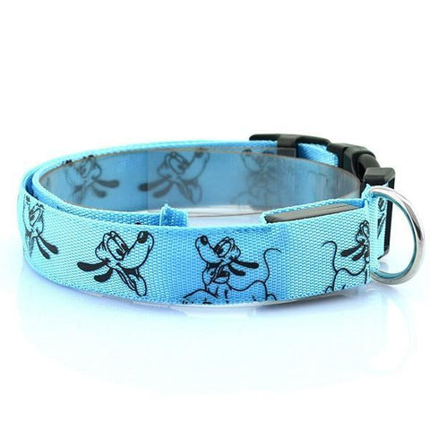 Image of Collars and Leashes Mickey Mouse Cartoon Safety LED Collar Blue / S