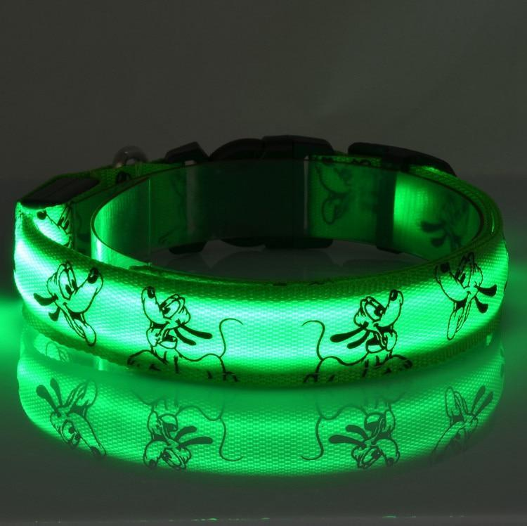 Collars and Leashes Mickey Mouse Cartoon Safety LED Collar Green / S