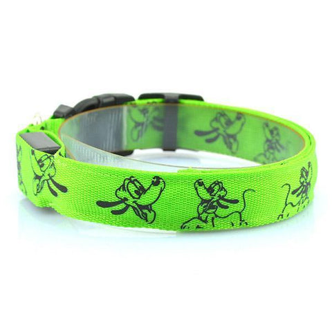 Image of Collars and Leashes Mickey Mouse Cartoon Safety LED Collar Green / S