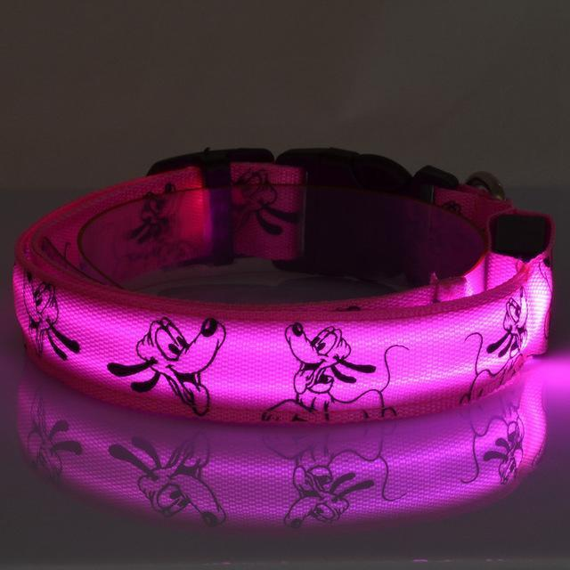 Collars and Leashes Mickey Mouse Cartoon Safety LED Collar Pink / S