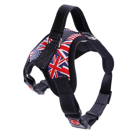 Collars and Leashes Nylon Heavy Duty Dog Pet Harness Reflective Collar Padded Dog Harnesses vest black / M