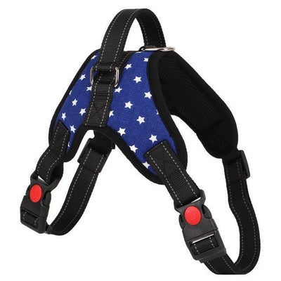 Collars and Leashes Nylon Heavy Duty Dog Pet Harness Reflective Collar Padded Dog Harnesses vest blue-2 / M