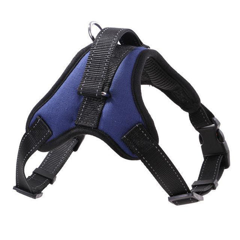 Collars and Leashes Nylon Heavy Duty Dog Pet Harness Reflective Collar Padded Dog Harnesses vest blue / M