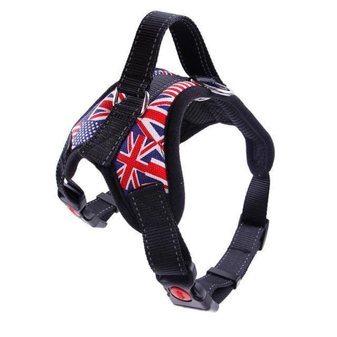 Collars and Leashes Nylon Heavy Duty Dog Pet Harness Reflective Collar Padded Dog Harnesses vest flag / M