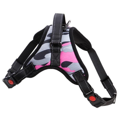Collars and Leashes Nylon Heavy Duty Dog Pet Harness Reflective Collar Padded Dog Harnesses vest pink Camo / M