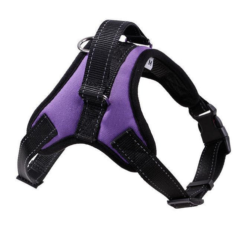 Collars and Leashes Nylon Heavy Duty Dog Pet Harness Reflective Collar Padded Dog Harnesses vest purple / M