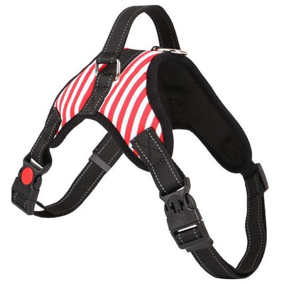 Collars and Leashes Nylon Heavy Duty Dog Pet Harness Reflective Collar Padded Dog Harnesses vest red stripe / M