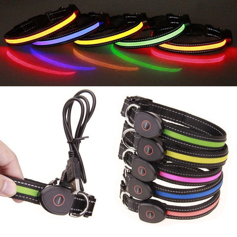 Image of Collars and Leashes Safety LED Collar-USB LED Light waterproof Flashing Glow Pet Collar Blue / S