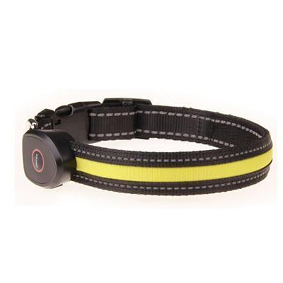 Collars and Leashes Safety LED Collar-USB LED Light waterproof Flashing Glow Pet Collar Yellow / S
