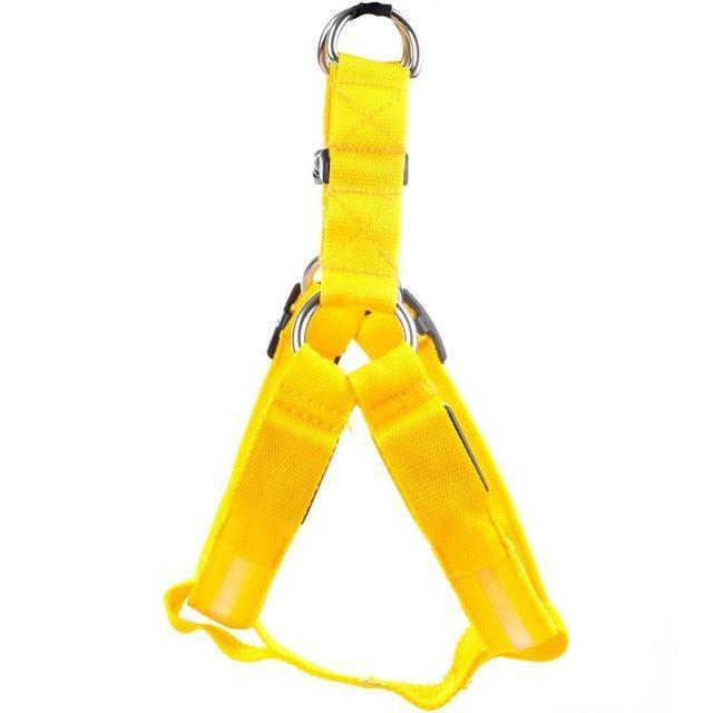 Collars and Leashes Safety Pet Collar with 3 Glowing Modes & 3 Reflective Strings, Adjustable Soft Nylon Webbing Yellow / XS