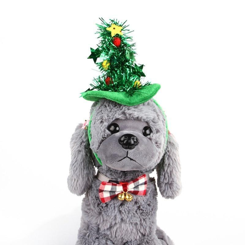 Dog Christmas Christmas  Accessories - Christmas Tree and Witch Hat Christmas Pet Dog Head Ornaments Yellow