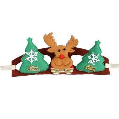 Dog Christmas Christmas  Accessories - Head Band Decorations Dog Crown Hat Headband Christmas Hair Accessories Green elk / S