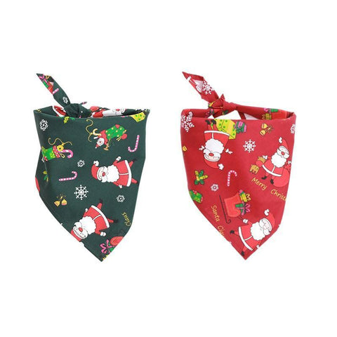 Image of Dog Christmas Christmas  Accessories -  Santa Claus Snowman Pet Bandannas Cotton Adjustable Scarf Green