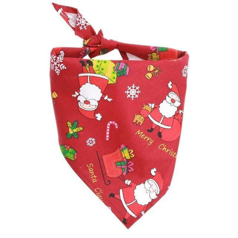 Image of Dog Christmas Christmas  Accessories -  Santa Claus Snowman Pet Bandannas Cotton Adjustable Scarf Red