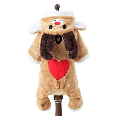 Dog Christmas Christmas Dog Clothes-Cute Red Heart Elk Pet Costume for Small Dogs Warm Soft Coral Fleece Puppy Dog Christmas Party Apparel XS