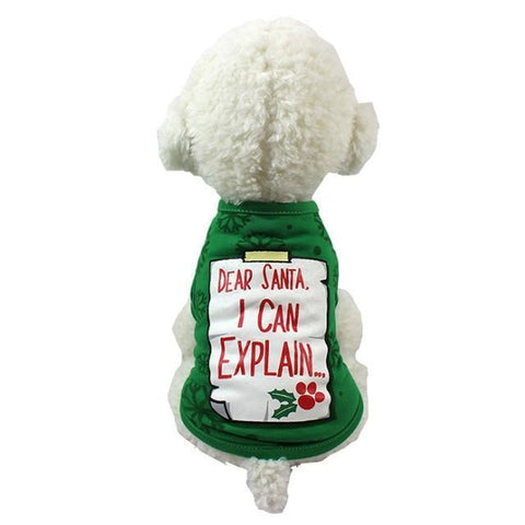 Dog Christmas Christmas Dog Clothes-Pullover Hoodies Dog Clothes Cat Santa Pet Dog Shirt  Puppy Sweater  Clothes Casual I / XS