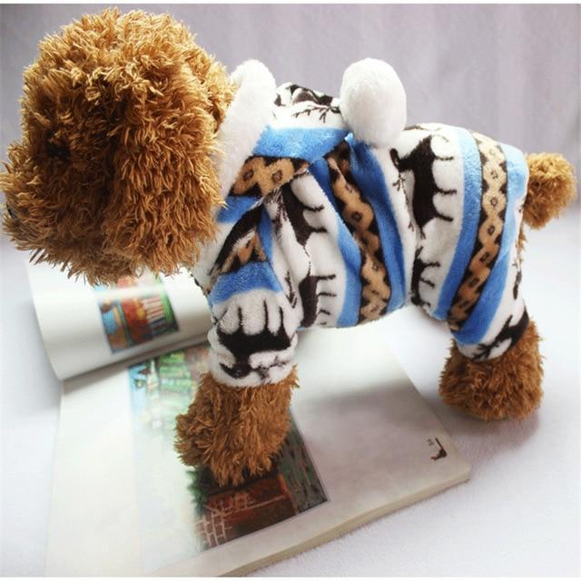 Dog Christmas Christmas Dog Clothes-Snowflake Soft Fleece Dog Clothes Pet Dog Dress Pattern Coral Velvet Deer Christmas Puppy Coat Blue / S