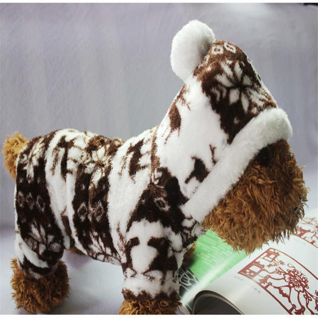 Dog Christmas Christmas Dog Clothes-Snowflake Soft Fleece Dog Clothes Pet Dog Dress Pattern Coral Velvet Deer Christmas Puppy Coat Burgundy / S