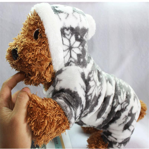 Dog Christmas Christmas Dog Clothes-Snowflake Soft Fleece Dog Clothes Pet Dog Dress Pattern Coral Velvet Deer Christmas Puppy Coat Gray / S