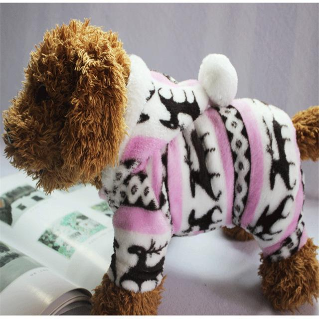 Dog Christmas Christmas Dog Clothes-Snowflake Soft Fleece Dog Clothes Pet Dog Dress Pattern Coral Velvet Deer Christmas Puppy Coat Pink / S