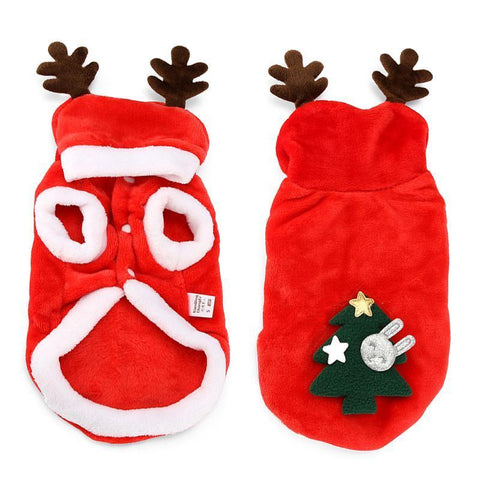 Dog Christmas Christmas Dog Clothes-Winter Warm Red Santa Claus Costumes For Small Pet Cat Dogs Coat Jackets 8-XS