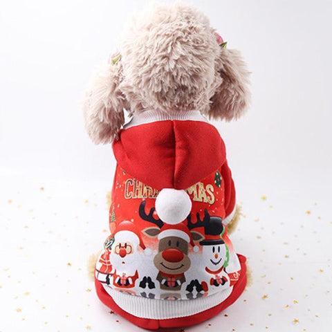 Image of Dog Christmas Christmas Pet Clothes - Costume Santa Claus Costume Winter Christmas Pet Coat Apparel Cotton Clothes Red / XS
