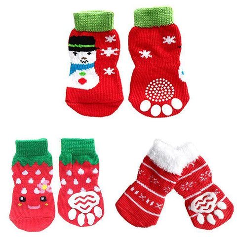 Dog Christmas Christmas Pet Socks-Soft Cotton Anti-slip Knit Weave Warm Sock A / S