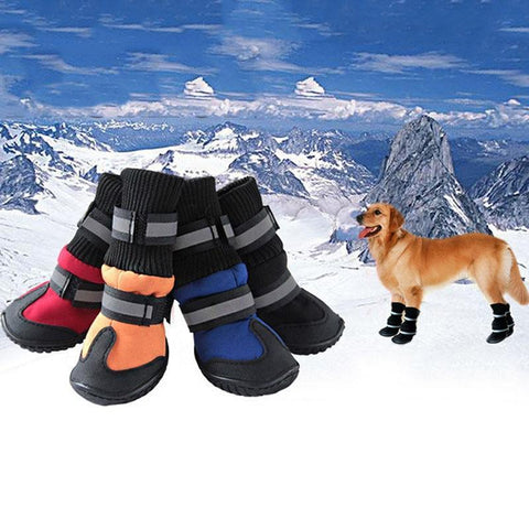 Image of Dog ShoesClothing and Accessories Pet Shoes-High Waist Golden Retriever Husky Waterproof Breathable Winter Cotton Boots Black / XS