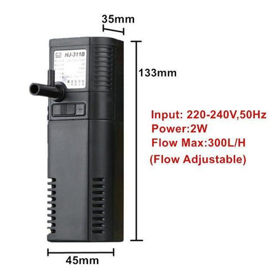 Filters & Accessories Multi-function Aquarium Internal Filter  Water Pump Filter Oxygen Pump For Fish Turtle Marine Tank Default Title