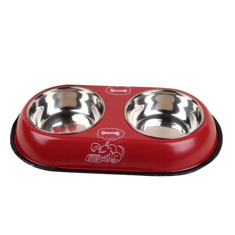 Food and bowl 2 in 1 Pet Dog Food Bowl Puppy Travel Feeder Water Dish Stainless Steel Large Dog Drinking Bowl Red / S
