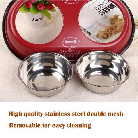 Food and bowl 2 in 1 Pet Dog Food Bowl Puppy Travel Feeder Water Dish Stainless Steel Large Dog Drinking Bowl White / S