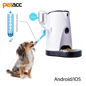Food and bowl Automatic Pet Feeder-Cat/Dog Automatic Pet Food Dispenser Smart Pet Feeder Pet Feeding Machine with Audio and Video Recording For IOS Android US PLUG