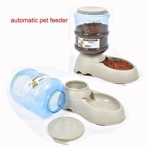 Food and bowl Automatic Pet Feeder Drinking Fountain/Food Bowl White