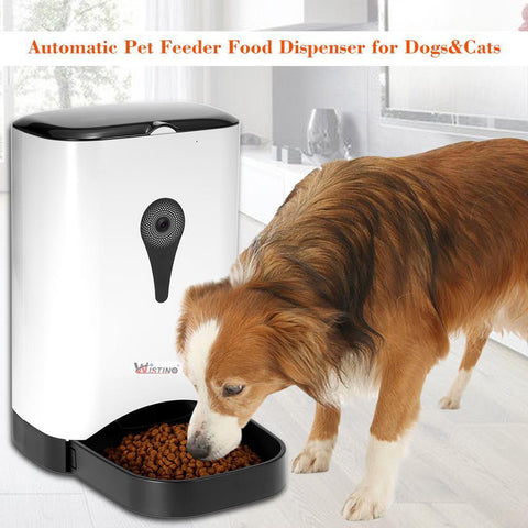 Food and bowl Automatic Pet Feeder- Food Dispenser Feed for Dog Cat Wifi Recording With 720P WiFi Camera Phone Control Feeder Wireless EU Plug