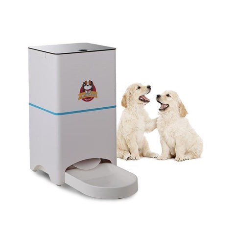 Food and bowl Automatic Pet Feeder- For Small Medium Large Dogs Cats Video Watch Timely Quantitative Remote Feeding White