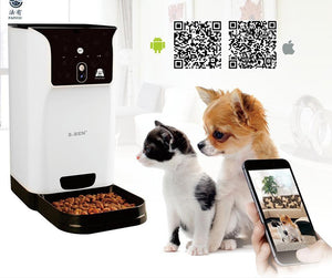 Food and bowl Automatic Pet Feeder-Smart Pet Feeder Pet WIFI 2.4GHz Camera Support Remotely Feeding Schedule Wide-angle Lens EU Plug