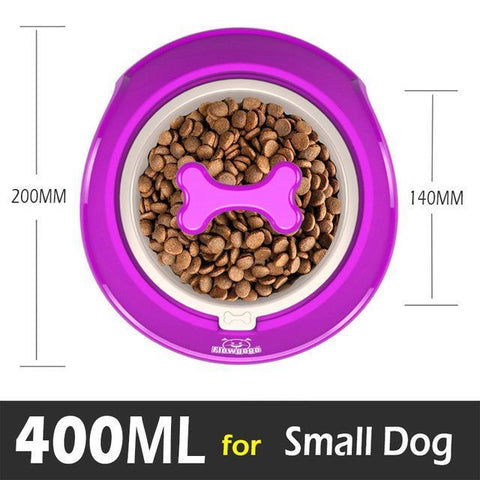 Image of Food and bowl Fun Bone Shaped Slow Feeder purple / Small 400ml