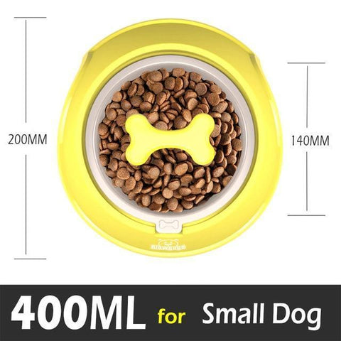 Food and bowl Fun Bone Shaped Slow Feeder yellow / Small 400ml