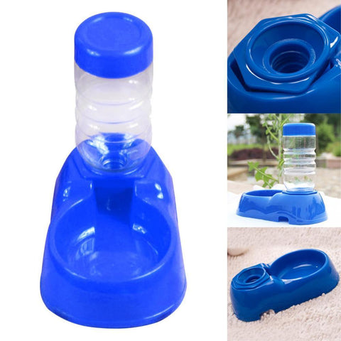 Food and bowl Pet Automatic Water Bottles Dispenser Food Dish Bowl Feeder for Dogs Blue