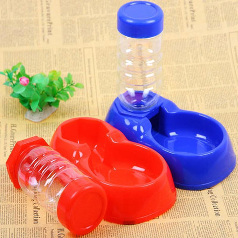 Food and bowl Pet Automatic Water Bottles Dispenser Food Dish Bowl Feeder for Dogs Red