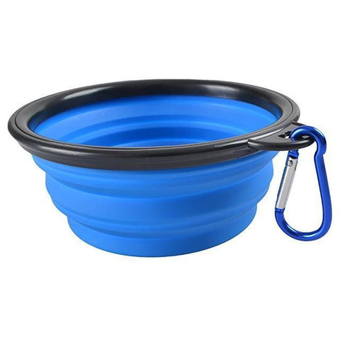 Food and bowl Portable Feeder- Outdoor Hiking Travel Dog Bowl Folding Telescopic for Food the Dog Drinking Water Pet Bowl Blue / S